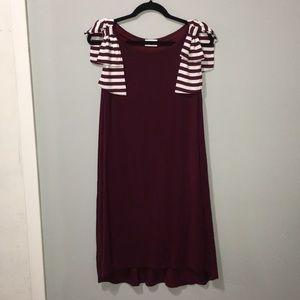 BOW SLEEVE maroon white slinky dress MISSISSIPPI